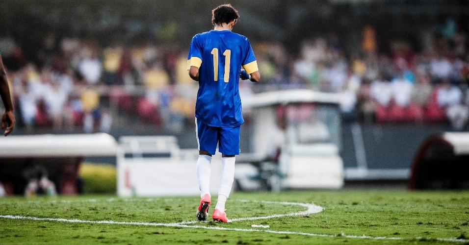 Neymar em ação durante a partida do Brasil contra a África do Sul
