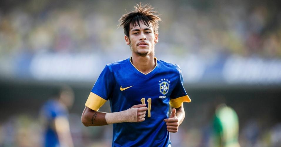 Neymar em ação pela seleção brasileira durante amistoso contra a África do Sul