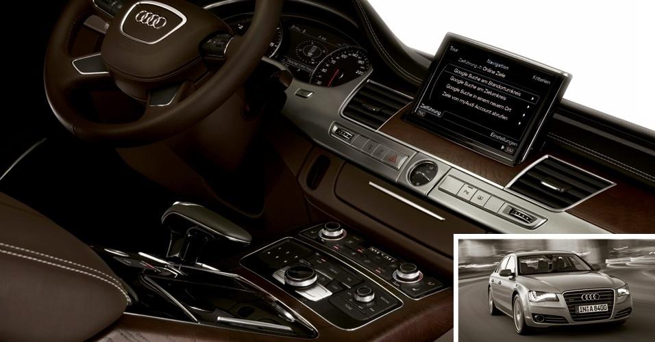 Este é o painel de um Audi A8. Quer desfrutar do (ótimo) som da marca dinamarquesa Bang & Olufsen, opcional do carro? Separe R$ 49.183,20 do seu orçamento, ou deixe de levar pra casa um Chevrolet Sonic sedã (R$ 49.100)