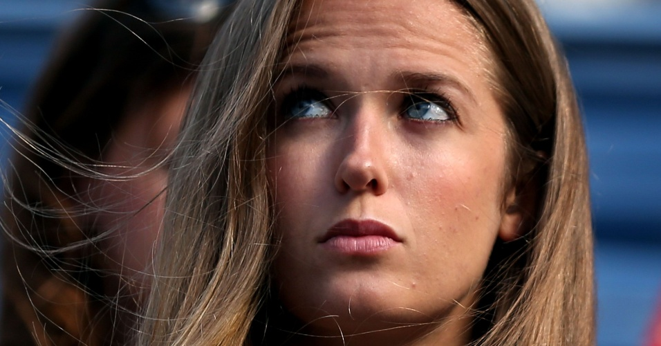 10.set.2012 - Kim Sears, namorada de Andy Murray, acompanha a deciso do Aberto dos EUA entre o britnico e o srvio Novak Djokovic
