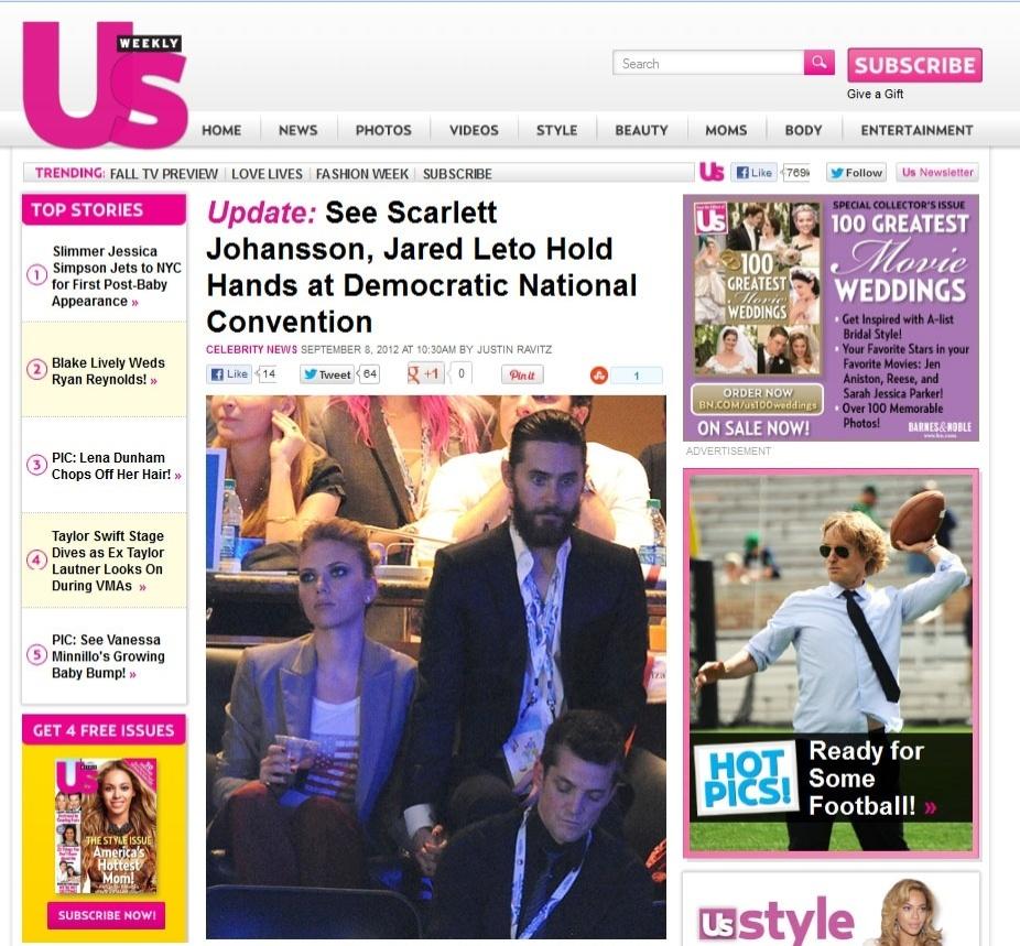 Scarlett Johansson e Jared Leto são flagrados de mãos dadas em convenção democrata nos EUA