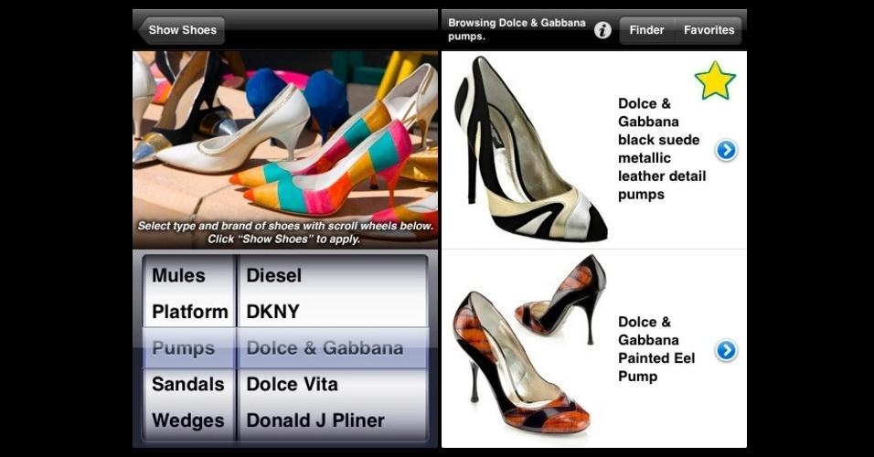 iShoes: para as apaixonadas por sapatos.  Com milhares de calçados cadastrados, o aplicativo permite filtrá-los por marca, cor, preço e ainda descobrir onde estão à venda. Grátis. Disponível para iPhone, iPod touch e iPad. Informações pesquisadas em setembro de 2012 e sujeitas a alterações