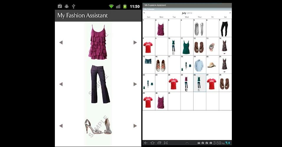 My Fashion Assistant: o usuário fotografa as peças que tem no guarda-roupa, guarda no aplicativo classificadas por categorias e monta looks unido sapatos, partes de baixo e de cima. R$ 2,01. Disponível para Android. Preço pesquisado em setembro de 2012 e sujeito a alterações