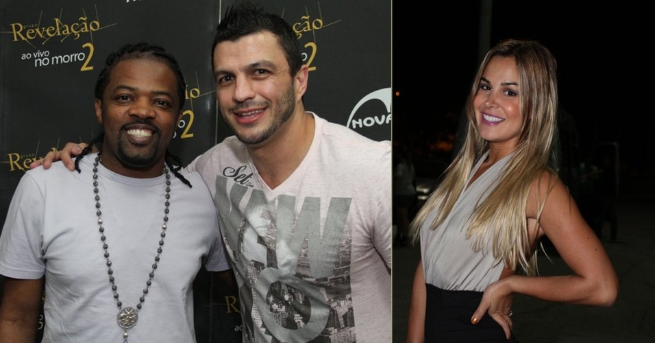 O ex-BBB Kleber Bambam posa com Xandy do Revela&#231;&#227;o no show do grupo no Rio de Janeiro, que tamb&#233;m contou com a presen&#231;a da ex-integrante de &#34;A Fazenda&#34; Robertha Portella (10/9/12)
