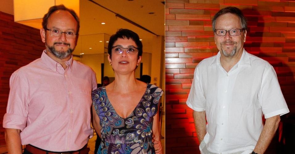 """Os jornalistas Ernesto Paglia e Sandra Annenberg e o diretor Fernando Meirelles foram à pré-estreia do longa """"Tropicália"""" no Cinemark Iguatemi, em São Paulo (10/9/12)"""