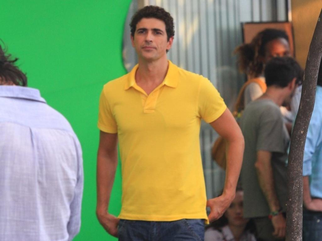 Reynaldo Gianechini durante as gravações de uma propaganda publicitária em um shopping no Rio de Janeiro. O ator está escalado para a novela