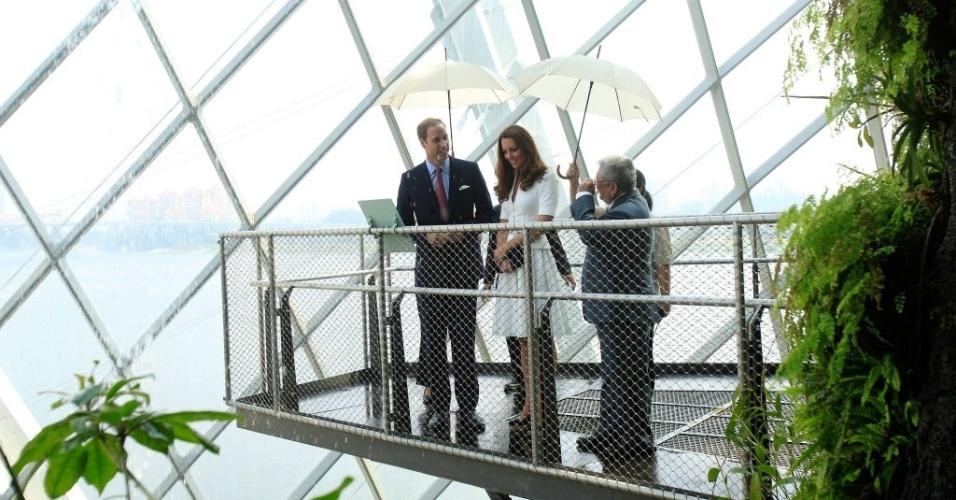 12.set.2012 - Príncipe William e sua esposa Catherine conversam com Kiat W. Tan, chefe executivo dos Jardins da Baía, em Cingapura, nesta quarta-feira (11). O casal faz uma viagem de  nove dias pelo Sudeste da Ásia e o Pacífico para marcar o Jubileu de Diamante da rainha Elizabeth 2ª