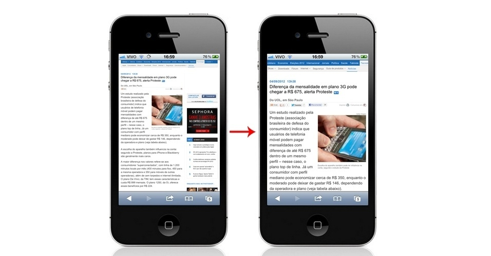 Antes e depois de efeito de zoom no sistema iOS