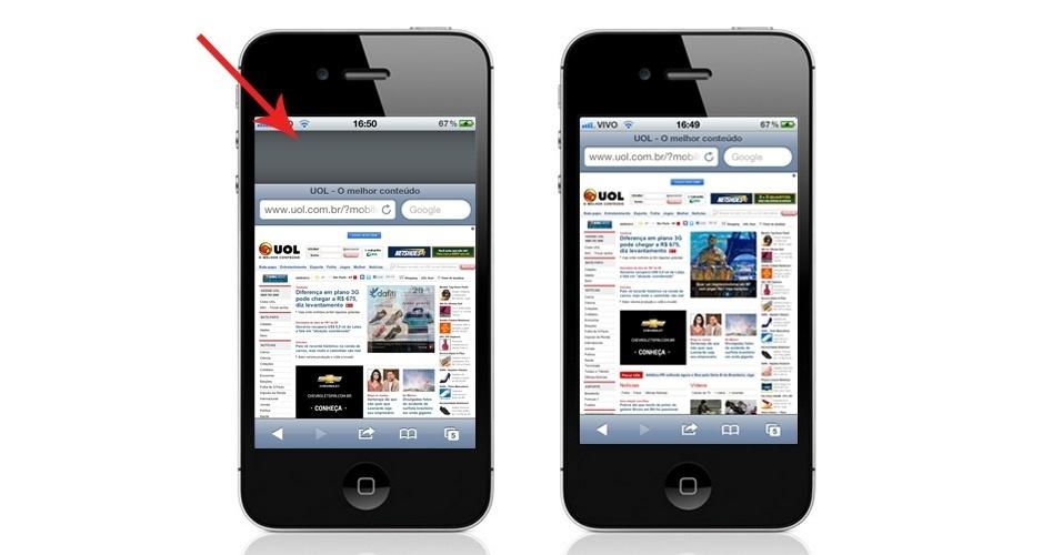 """Antes e depois do recurso """"bounce-back"""" do sistema iOS, da Apple. Ao arrastar uma página, ela volta a sua posição original como um elástico"""