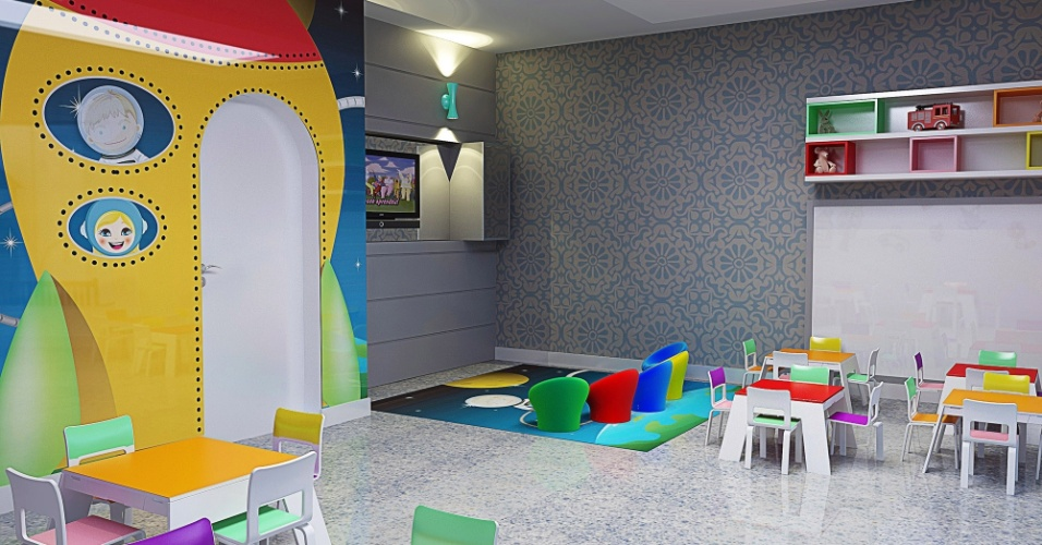 Casa Cor MT - 2012: a Brinquedoteca desenhada pelos arquitetos João Pedro d'Ornellas e Luiz Henrique Romero e pela designer Itamara Cenci combina revestimento com padronagem clássica e um painel divertido com o desenho de um foguete