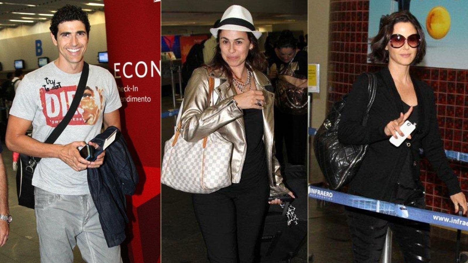 Reynaldo Gianecchini, Guilhermina Guinle e Daniela Escobar embarcam rumo aos Estados Unidos no aeroporto Antônio Carlos Jobim, no Rio de Janeiro (12/9/12)