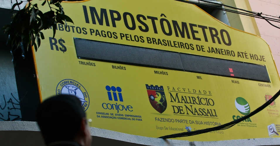 13.set.2012 - Um Impost&#244;metro ser&#225; inaugurado nesta quinta-feira (13) na avenida Presidente Vargas, em Bel&#233;m, capital paraense. Com o painel, a popula&#231;&#227;o poder&#225; acompanhar o valor que o consumidor brasileiro paga em carga tribut&#225;ria