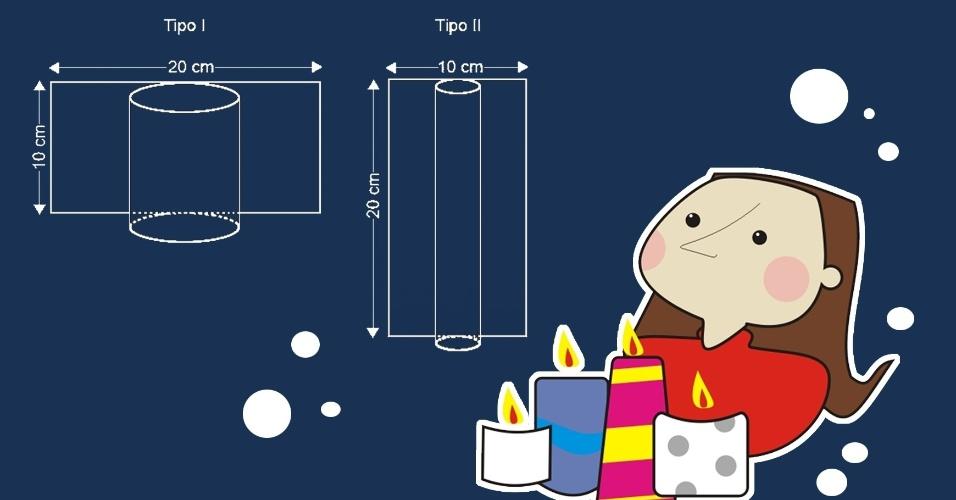 (ENEM) Uma artesã confecciona dois diferentes tipos de vela ornamental a partir de moldes feitos com cartões de papel retangulares de 20 cm × 10 cm. Unindo dois lados opostos do cartão, de duas maneiras, a artesã forma cilindros e, em seguida, os preenche completamente com parafina. Tipo I 20 cm 10 cm Tipo II 10 cm 20 cm. Supondo-se que o custo da vela seja diretamente proporcional ao volume da parafina empregado, qual será o custo da vela do tipo I, em relação ao custo da vela de tipo II?