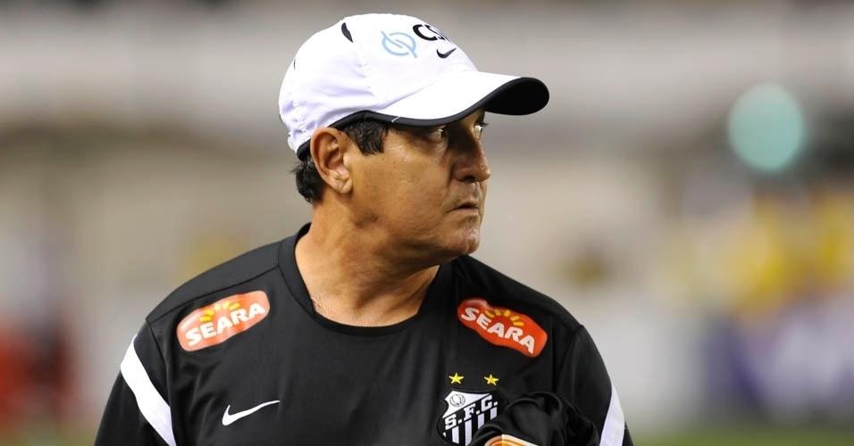 Muricy Ramalho observa a partida entre Santos e Flamengo, na Vila Belmiro