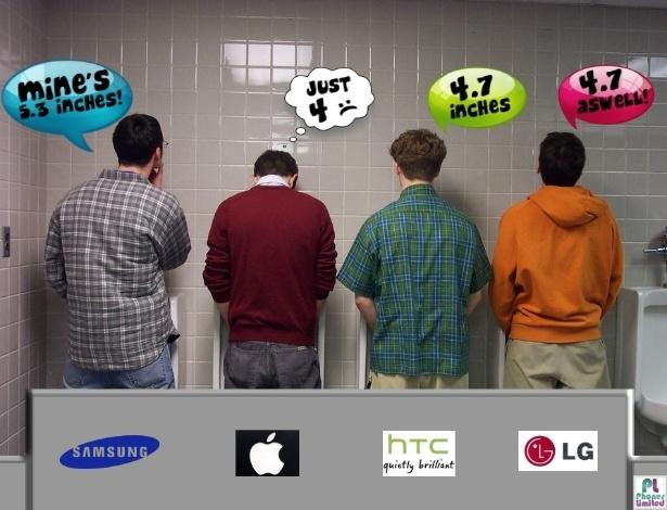 Apesar de ter ficado mais comprido, o iPhone 5 ainda não é páreo para a concorrência. Em um diálogo no banheiro, donos de smartphones da Samsung, LG e HTC falam do tamanho ''avantajado'' dos aparelhos. Captou?