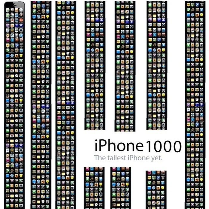 Nesse outro caso, o iPhone 1000 é tão grande que foi preciso dividir a sua tela em várias colunas