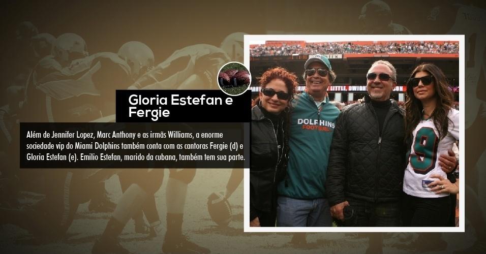Além de Jennifer Lopez, Marc Anthony e as irmãs Williams, a enorme sociedade vip do Miami Dolphins também conta com as cantoras Fergie (d) e Gloria Estefan (e). Emilio Estefan, marido da cubana, também tem sua parte.