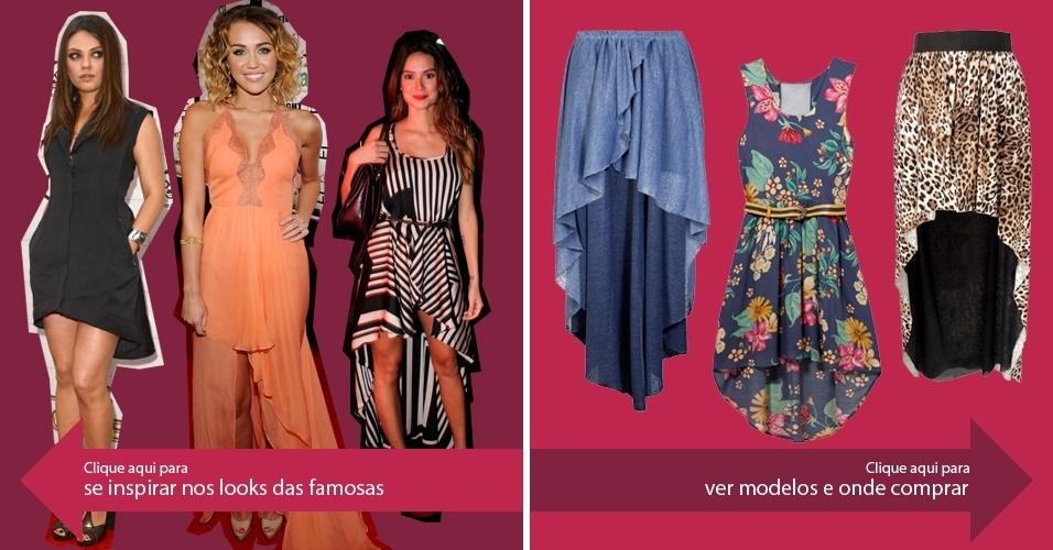 Clique na seta da esquerda para se inspirar nos looks das famosas e na da direita para ver modelos de saias mullet