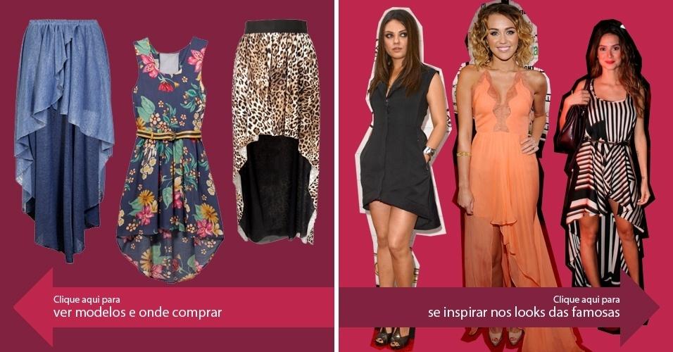 Clique na seta da esquerda para ver modelos de saias mullet e na da direita para se inspirar nos looks das famosas