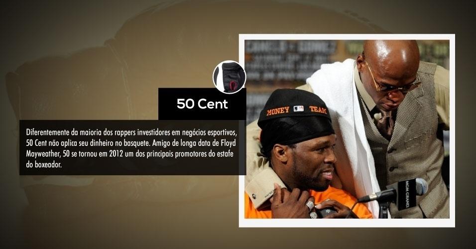 Diferentemente da maioria dos rappers investidores em negócios esportivos, 50 Cent não aplica seu dinheiro no basquete. Amigo de longa data de Floyd Mayweather, 50 se tornou em 2012 um dos principais promotores do estafe do boxeador.