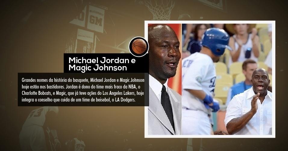 Grandes nomes da história do basquete, Michael Jordan e Magic Johnson hoje estão nos bastidores. Jordan é dono do time mais fraco da NBA, o Charlotte Bobcats, e Magic, que já teve ações do Los Angeles Lakers, hoje integra o conselho que cuida de um time de beisebol, o LA Dodgers.