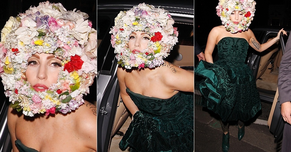 Lady Gaga usa chap&#233;u de flores ao chegar ao London Fashion Week (16/9/12)