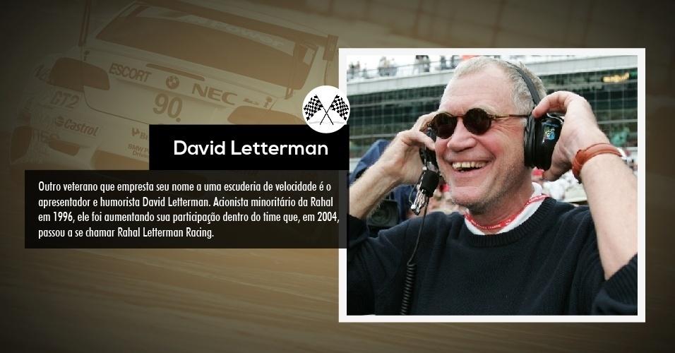 Outro veterano que empresta seu nome a uma escuderia de velocidade é o apresentador e humorista David Letterman. Acionista minoritário da Rahal em 1996, ele foi aumentando sua participação dentro do time que, em 2004, passou a se chamar Rahal Letterman Racing.