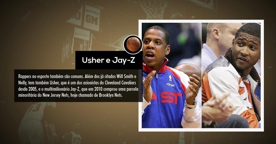 Rappers no esporte também são comuns. Além dos já citados Will Smith e Nelly, tem também Usher, que é um dos acionistas do Cleveland Cavaliers desde 2005, e o multimilionário Jay-Z, que em 2010 comprou uma parcela minoritária do New Jersey Nets, hoje chamado de Brooklyn Nets.