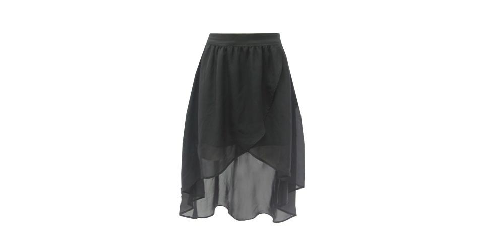 Saia mullet preta transparente; R$ 59,99, na Leader (www.leader.com.br). Preço pesquisado em setembro de 2012 e sujeito a alterações