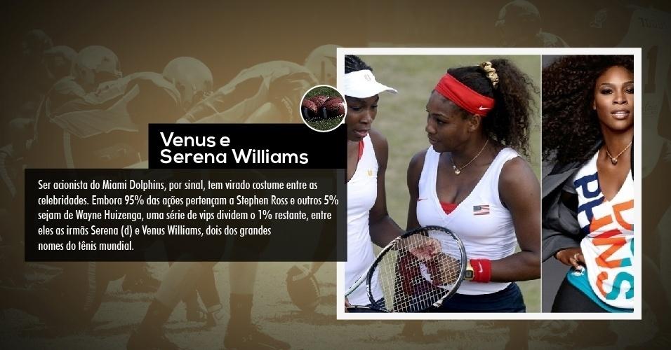 Ser acionista do Miami Dolphins, por sinal, tem virado costume entre as celebridades. Embora 95% das ações pertençam a Stephen Ross e outros 5% sejam de Wayne Huizenga, uma série de vips dividem o 1% restante, entre eles as irmãs Serena (d) e Venus Williams, dois dos grandes nomes do tênis mundial.