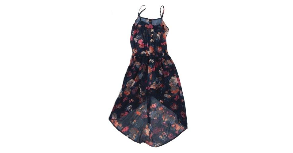 Vestido com estampa floral de fundo escuro; R$ 351,56, na Dimy (www.dimirmay.com.br). Preço pesquisado em setembro de 2012 e sujeito a alterações