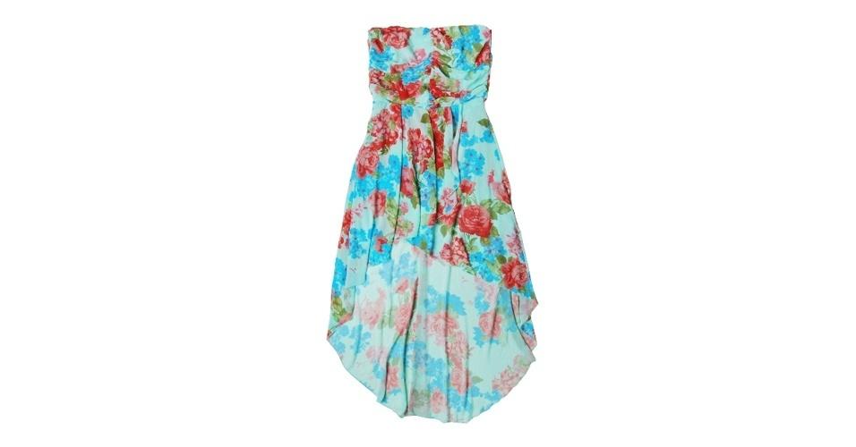 Vestido tomara que caia mullet com estampa floral; R$ 69,99, na Marisa (www.marisa.com.br). Preço pesquisado em setembro de 2012 e sujeito a alterações