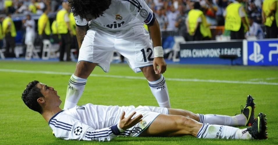 Cristiano Ronaldo e Marcelo comemoram vitória do Real Madrid contra o Manchester City
