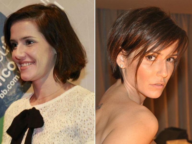 Deborah Secco com cabelos curtos e desfiados