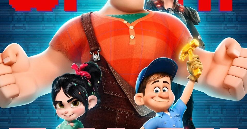 Herói do filme, Ralph divide a arte com a menina Vanellope, o seu rival Felix e a sargento Calhoun