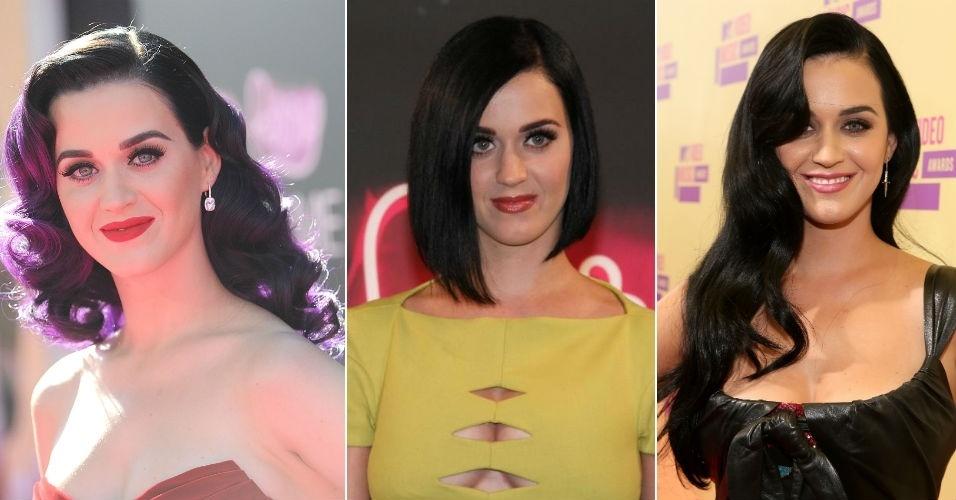 Katy Perry com cabelos pretos chanel e ondulado longo