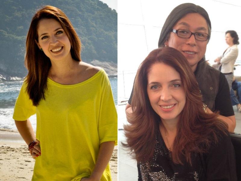Poliana Abritta jornalista da Globo corta os cabelos com Celso Kamura