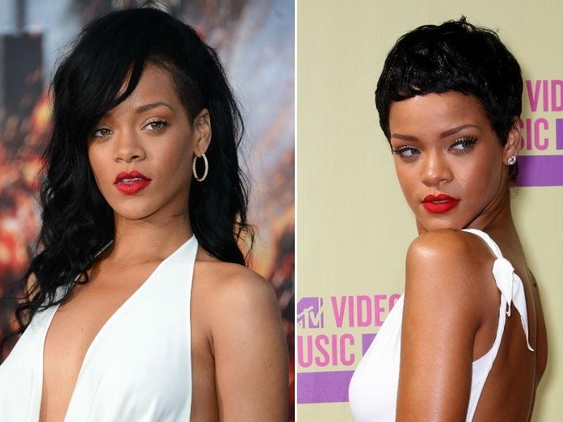 Rihanna com corte curtinho joãozinho