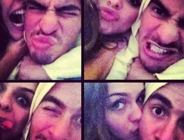"""A atriz Paloma Bernardi trocou carinhos com Thiago Martins em fotos publicadas em sua página no Twitter (19/9). """"Hoje é dia de ficar o tempo todo pendurada!"""", escreveu na descrição"""
