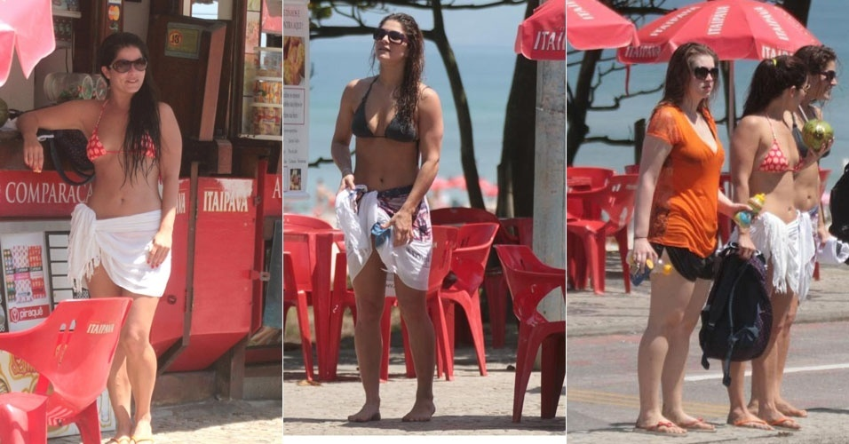 As atrizes Samara Felippo, Priscila Fantin e Carolinie Figueiredo na praia da Barra, no Rio de Janeiro (19/9/12)