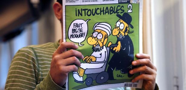 """Capa da revista francesa """"Charlie Hebdo"""", que traz cartuns satirizando Maomé"""