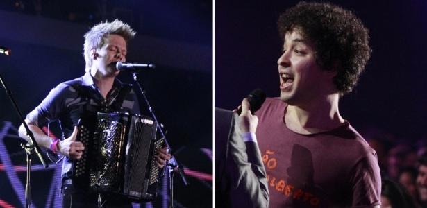 Michel Teló (à esquerda) e Cícero venceram duas categorias cada no Prêmio Multishow 2012 (18/9/12)