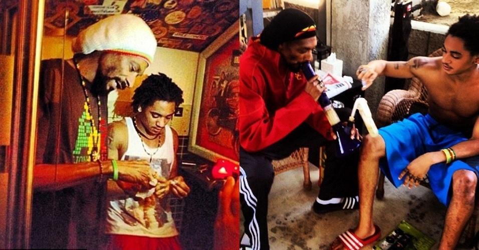 """O filho do cantor Snoop Lion, Corde Calvin Broadus, 18, publicou fotos em seu Twitter fumando maconha com o pai famoso (18/9/12). Na foto em que prepara um cigarro com o pai, o jovem escreveu: """"Não poderia me imaginar morando em Amsterdã por um ano"""". Snoop Lion é o novo nome adotado por Snoop Dogg, que este ano deixou o rap de lado para fazer um álbum de reagge"""
