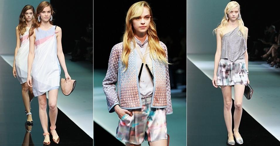 Looks de Emporio Armani para o Verão 2013 durante a semana de moda de Milão (20/09/2012)