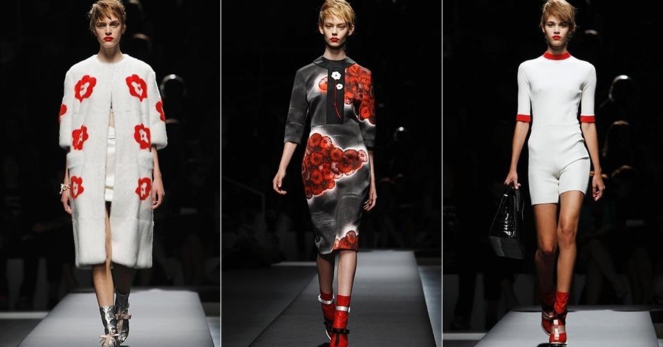 Looks de Prada para o Verão 2013 durante a semana de moda de Milão (20/09/2012)