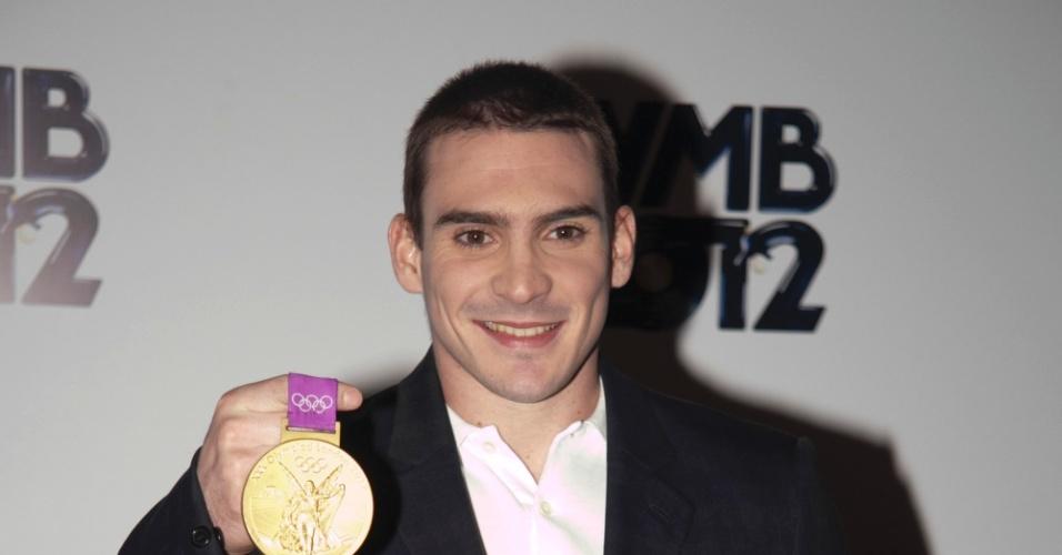 O ginasta Arthur Zanetti, medalha de ouro nas Olimpíadas de Londres, chega ao VMB 2012 (20/9/12)