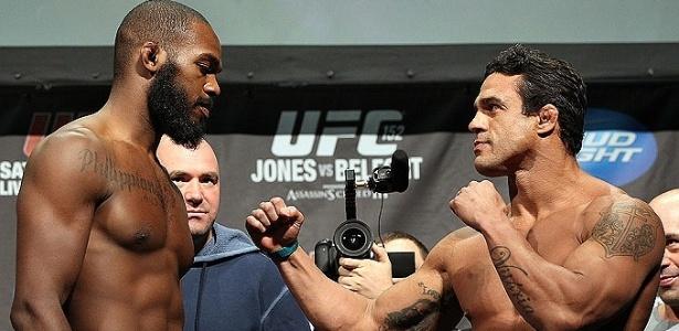 Encarada entre Vitor Belfort e Jon Jones após a pesagem do UFC 152