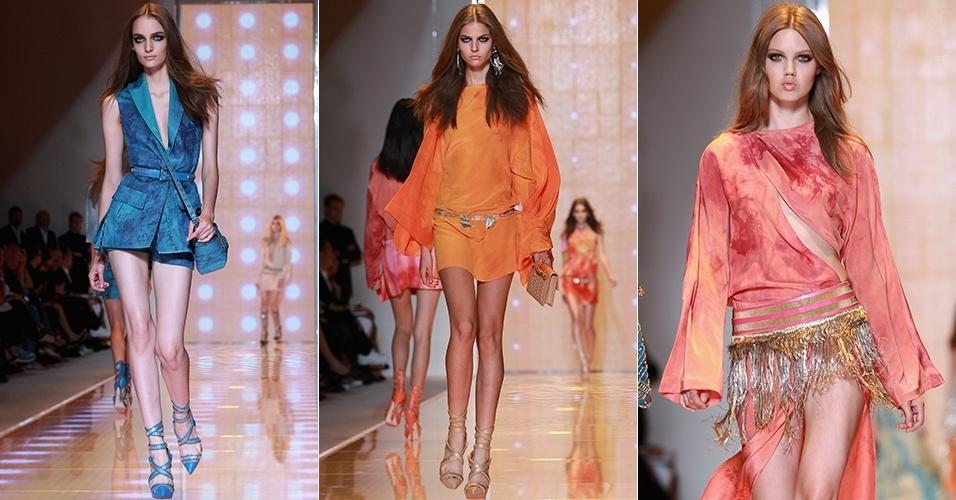 Looks da Versace para o Verão 2013 durante a semana de moda de Milão (21/09/2012)
