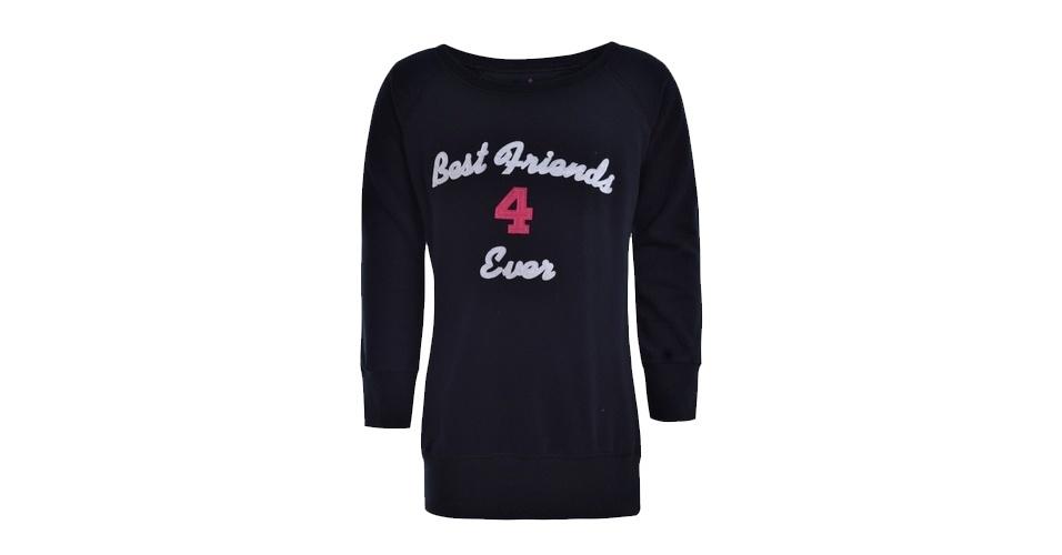 """Moletom Dress To preto com bordado """"Best Friends 4 Ever"""" (""""Melhores Amigos para Sempre"""", em inglês); R$ 51,50, na Dress To (www.dresstoshop.com.br) Preço pesquisado em setembro de 2012 e sujeito a alterações"""