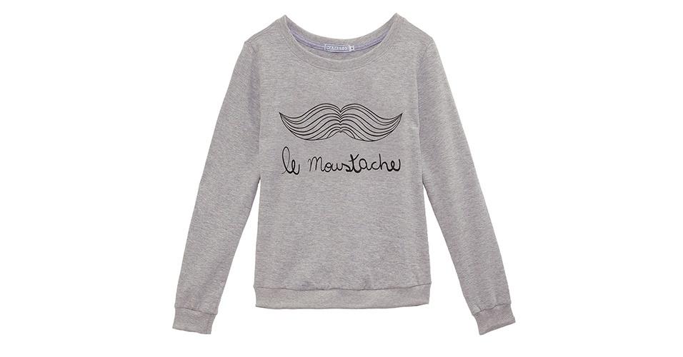Moletom Market 33 cinza com estampa de bigode e modelagem solta; R$ 149, na OQVestir (www.oqvestir.com.br) Preço pesquisado em setembro de 2012 e sujeito a alterações